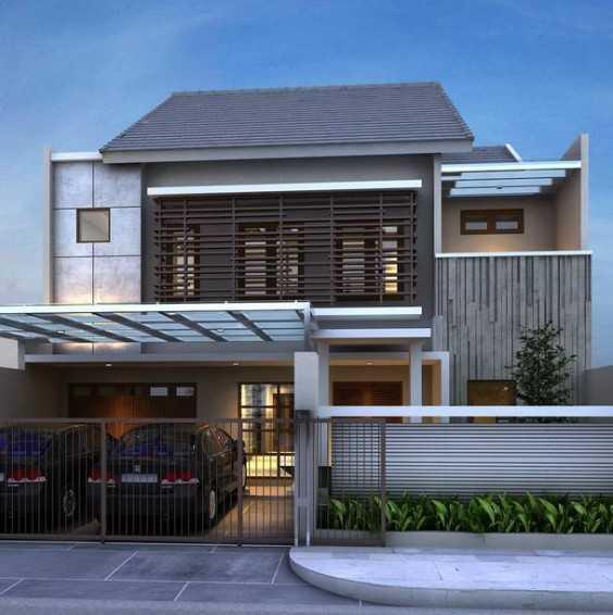 Rumah dua lantai dengan garasi untuk dua mobil (Sumber: rumahminimalisbagus.com)