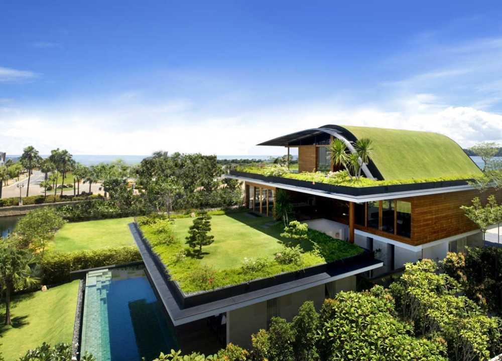 Rumah bergaya minimalis dengan taman di lantai dua (Sumber: www.architecturebeast.com)