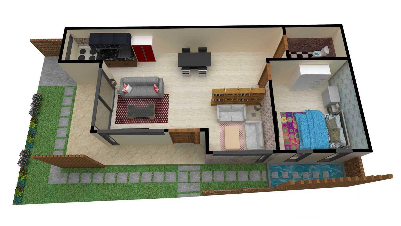 Arsitektur dalam rumah mungil dengan konsep open plan pada Rumah Tinggal Lembang karya PARADES Studio [Sumber: arsitag.com]