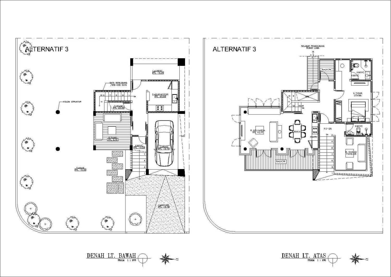 Konsep arsitektur rumah mungil 2 lantai dengan layout open plan Rumah Panggung karya faiz [Sumber: arsitag.com]