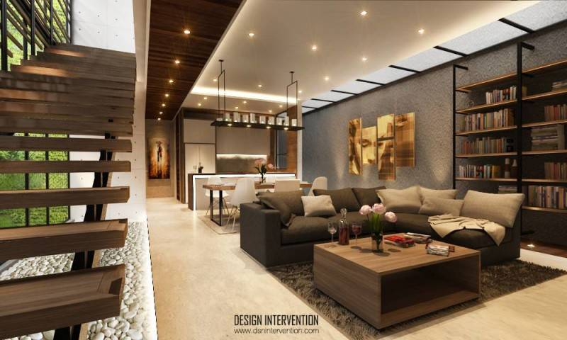 Arsitektur rumah mungil tapi mewah di J House at Gading Serpong karya DESIGN INTERVENTION, menerapkan konsep layout open plan dengan perbedaan elemen pencahayaan, visual dengan teknik desain, perbedaan material dan furnitur.