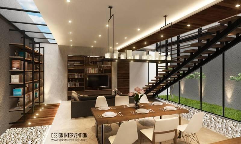 Arsitektur dalam rumah mewah dan mungil J House at Gading Serpong karya DESIGN INTERVENTION [Sumber: arsitag.com]