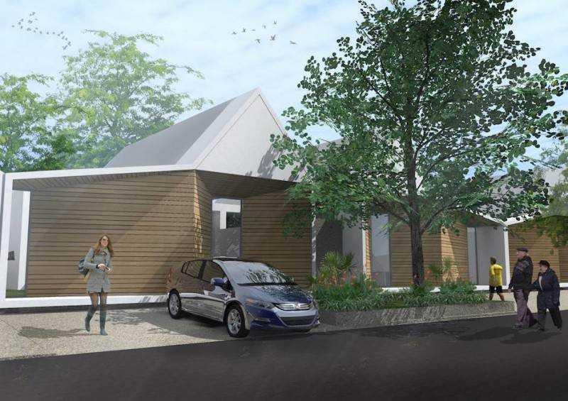 Rumah sederhana 1 lantai di Banjarbaru Residence karya Monokroma Architect (Sumber: arsitag.com)