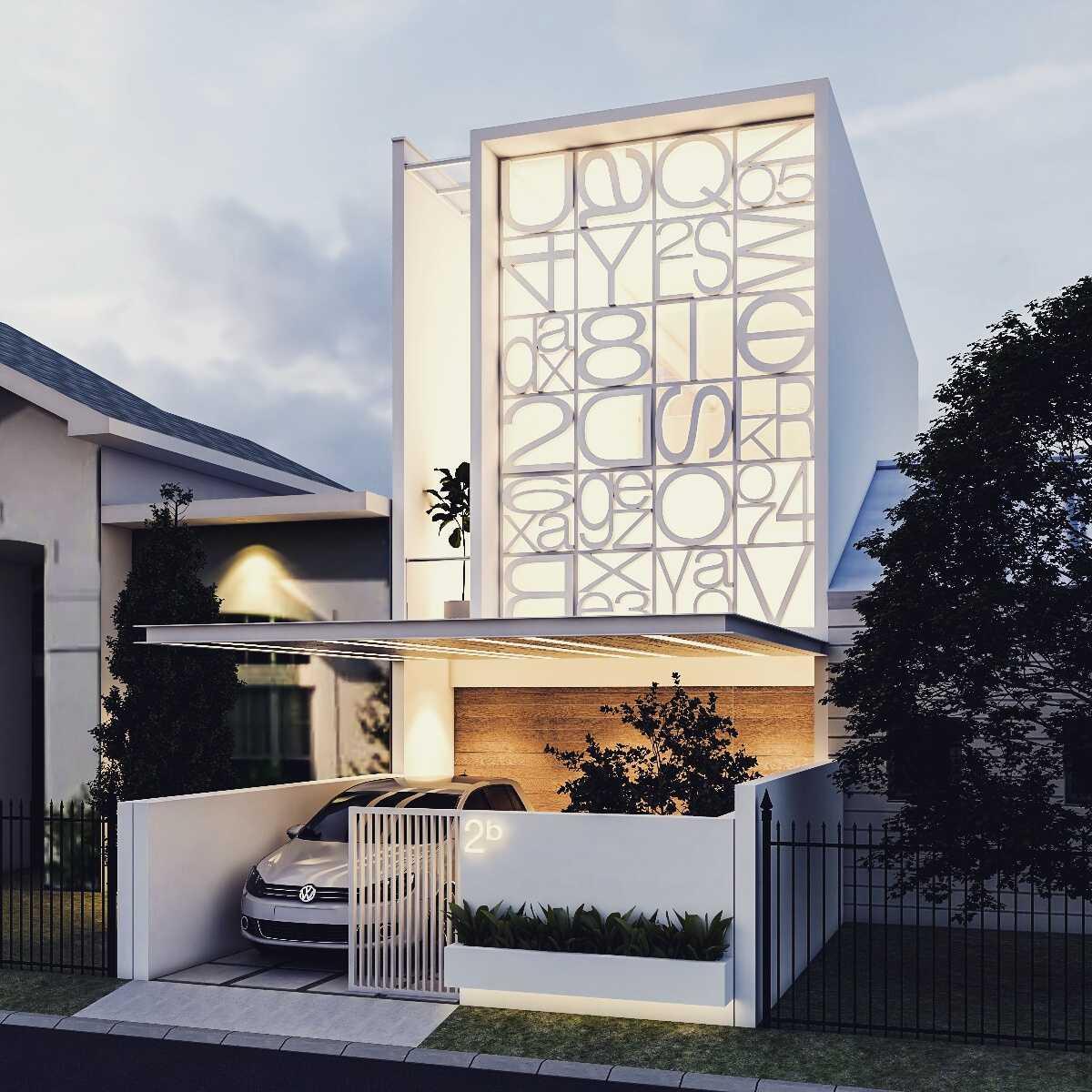 Rumah minimalis perkotaan dengan 1 carport House at Kopo karya .interval (Sumber:arsitag.com)