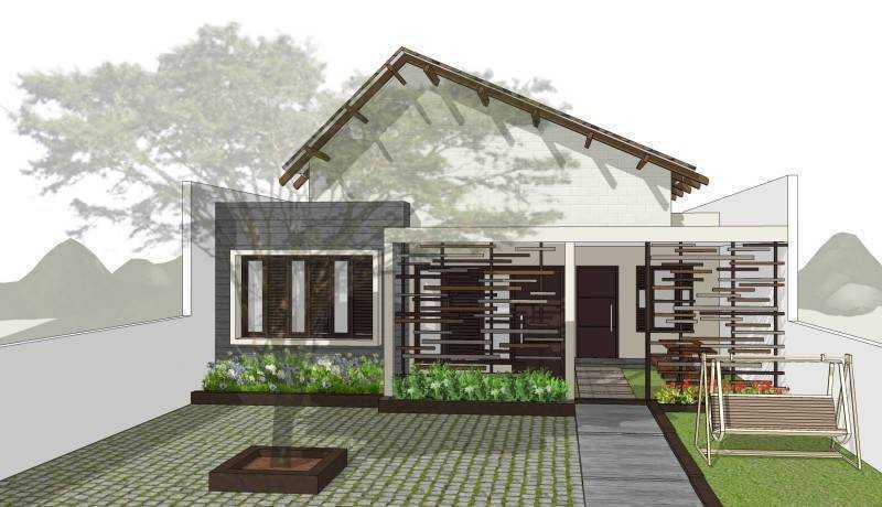 Rumah minimalis dengan kisi-kisi kayu dan halaman luas untuk bermain anak Toraja Villa House karya Miv Architect (Sumber: arsitag.com)