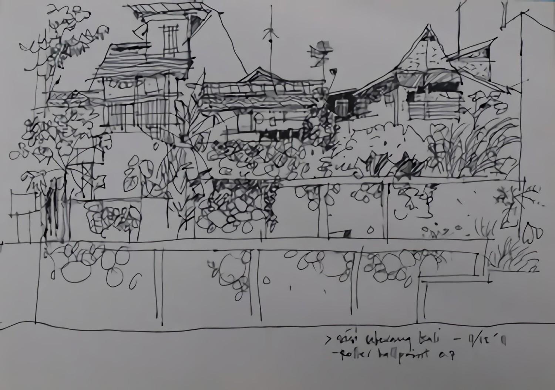 Sketsa Pertama bersama ISJogja. Teguh Setiawan Pinang. Ballpoint/Roller Pen 0,7 Standard. Sketchbook Kiky A4 (Sumber:is-yogyakarta.blogspot.co.id)