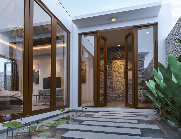 Pintu masuk utama Villa Bougainville karya IMAJI ARCHITECT tahun 2016 (Sumber: arsitag.com)