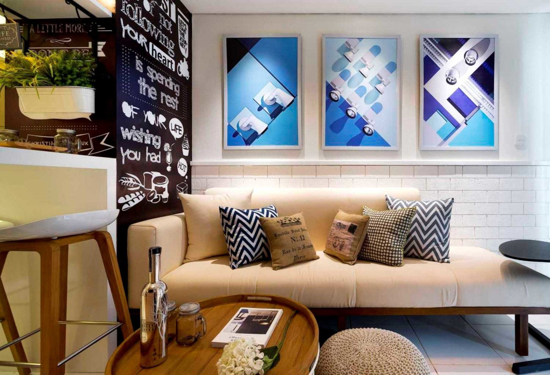 Tema Retro Scandinavian Kota Ayodhya apartment show unit 2 bedroom karya teddykoo [Sumber: arsitag.com]