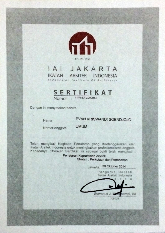 Sertifikat Penataran Keprofesian Arsitek sebagai bukti IAI terus meningkatkan profesionalisme anggotanya(sumber: pribadi)