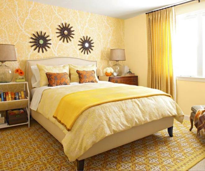 Kombinasi warna hangat pada desain kamar tidur sederhana dan murah [Sumber: decoracion2.com]