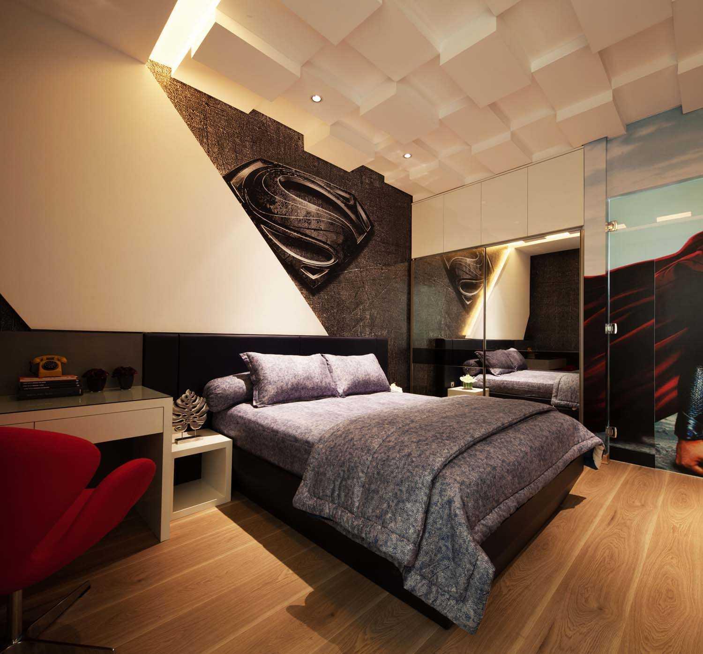 Aksen gelap pada desain kamar tidur unik di F+W House karya DP+HS Architects [Sumber: arsitag.com]