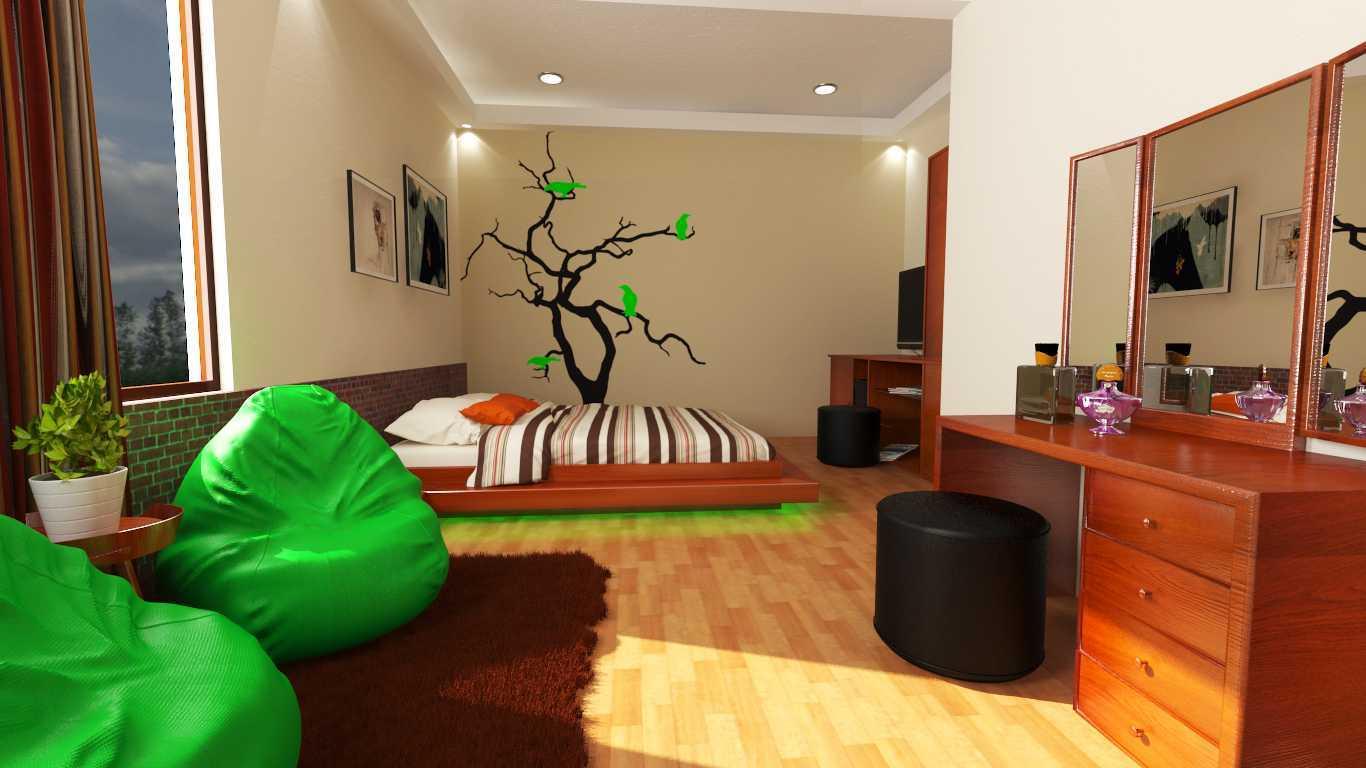 Beanbag pada desain kamar tidur unik Semi Rustic House in Cimahi karya Triasteri Interior and Design [Sumber: arsitag.com]