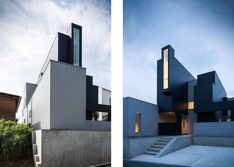 Desain rumah Jepang di perbukitan ini sangat menonjol dengan pola geometrinya. Cahaya alami, view, dan privasi sangat penting bagi interior rumah ini. Untuk mencapai tujuan ini, FORM/Kouichi Kimura Architect menonjolkan permainan komposisi masif dan void yang spektakuler dan beberapa fokus view terbaik yang dipilih dengan cermat.