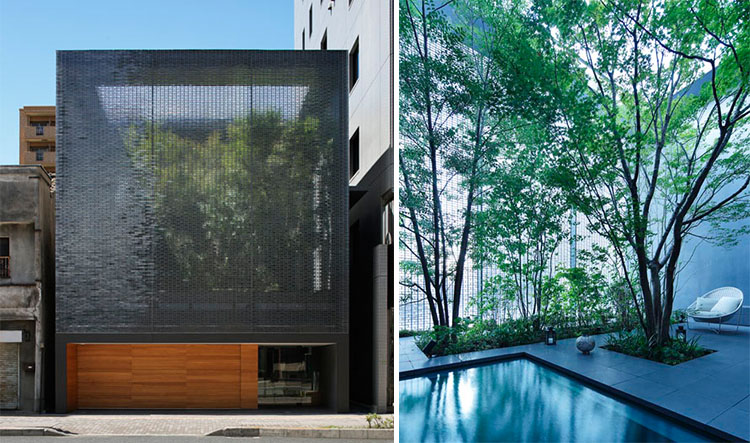 Gaya rumah Jepang modern karya Shuhei Endo Architects ini adalah rumah paling tidak lazim yang mengatasi rintangan lereng bukit terjal sekaligus tantangan gaya desain. Lapisan penutup struktur ini adalah atap/dinding yang terbuat dari panel metal bergelombang.