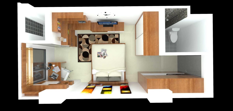 referensi design interior apartemen 2br design interior apartemen Contoh Denah Apartemen Mungil, Studio Unit Type 18A Karya Dimas Andrea  (Sumber: arsitag