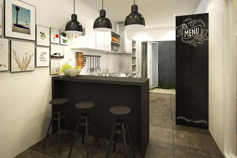 Dapur cantik mewah Scandinavian House karya ruang komunal [Sumber: arsitag.com]