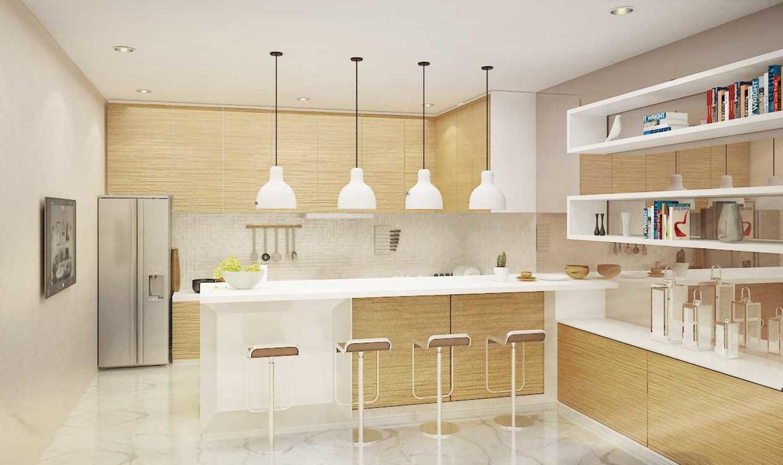 Tata cahaya pada dapur mewah klasik Scandinavian Muara Karang Kitchen Renovation karya ruang komunal [Sumber: arsitag.com]
