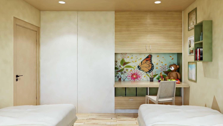 Kamar Anak Permata Hijau di Jakarta Barat karya Hive Design & Build tahun 2017 (Sumber: arsitag.com)