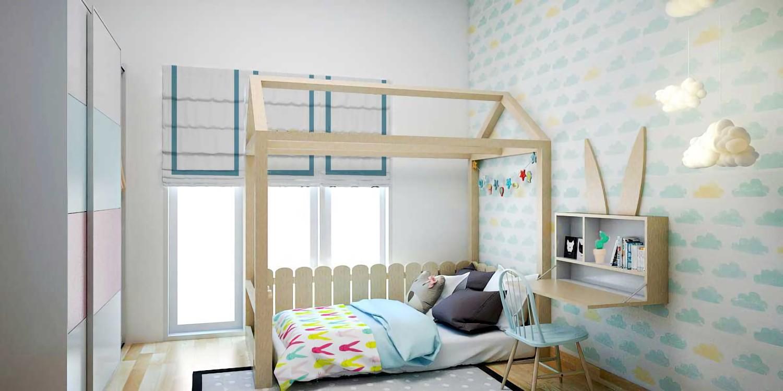 Kamar tidur anak bergaya skandinavian di Griya Loka karya liska yulianti tahun 2017 (Sumber: arsitag.com)
