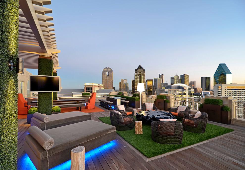 Desain taman rooftop dengan ruangan musik outdoor [Sumber: designtrends.com]