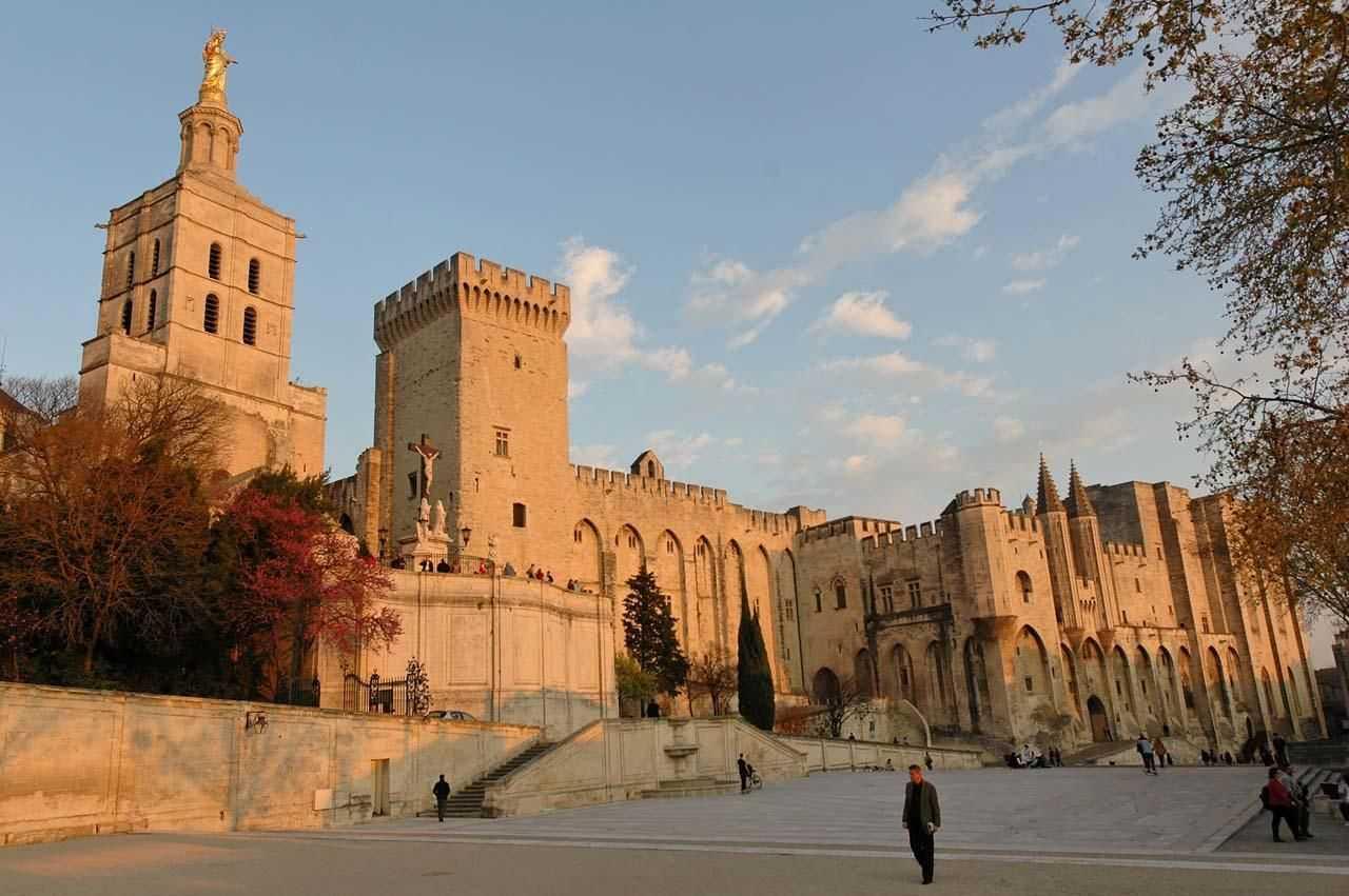 Di Perancis, arsitektur Gotik dapat banyak dijumpai pada kastil, gereja dan katedral. Salah satu contoh dari basilika Gotik di Perancis adalah Basilika Saint Denis. Selain pada gereja, arsitektur Gotik juga banyak digunakan pada istana, dan salah satu yang terkenal adalah Palais des Papes di Avignon.