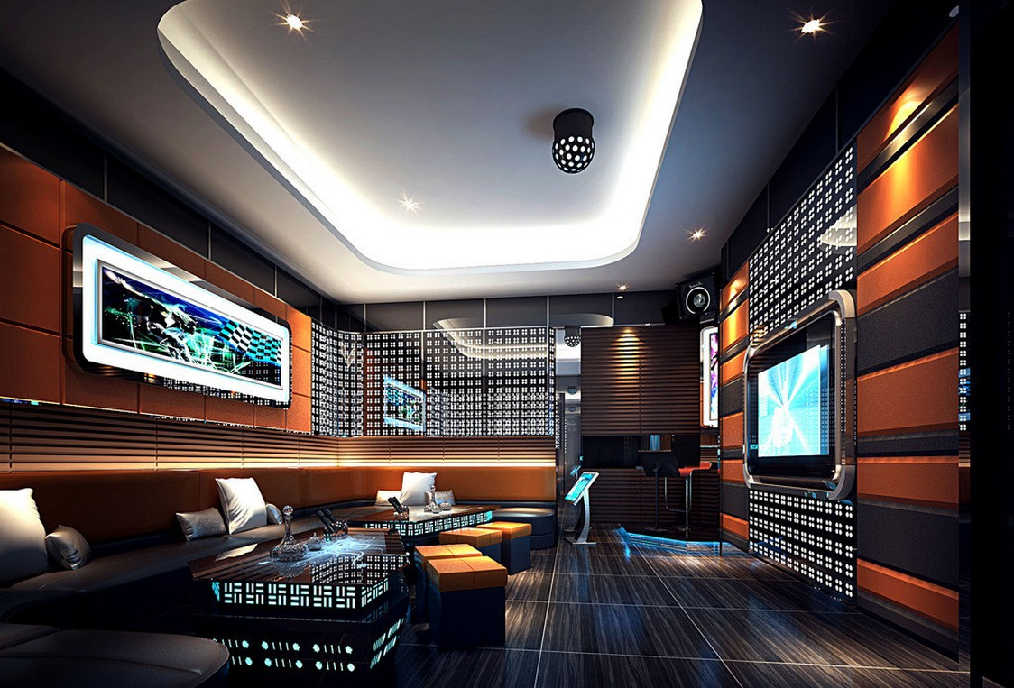 Contoh desain interior ruang karaoke (Sumber: pinterest.com)