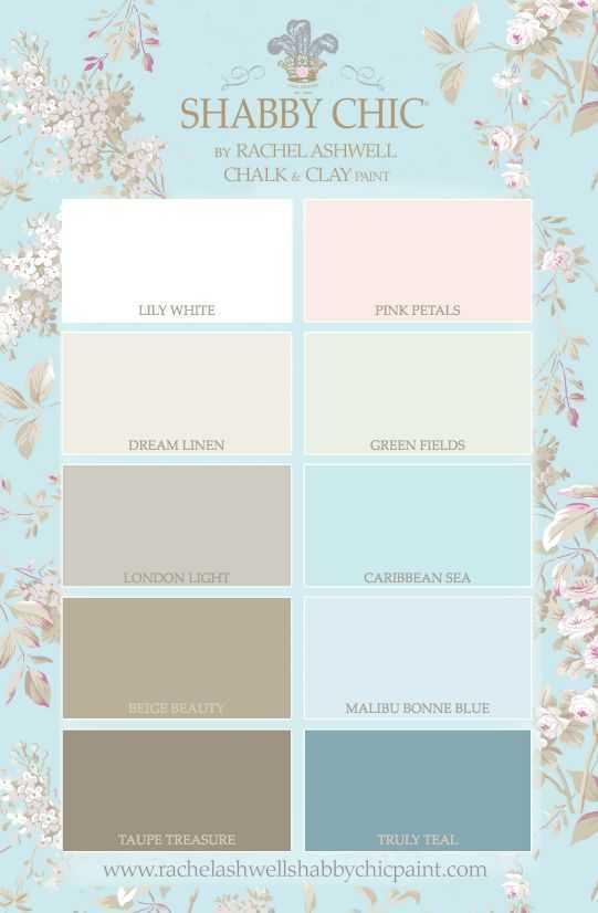 Warna pastel dan pola yang feminin. Warna-warna yang digunakan pada gaya desain Shabby Chic biasanya natural dan terlihat ringan. Warna putih dan krem adalah suatu keharusan, terutama pada dinding dan perabotan besar. Pakai pola yang halus dan feminin, seperti motif bunga, motif kotak, garis-garis, atau toile.