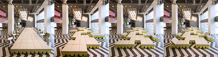 Ruang serbaguna dengan blok-blok puzzle yang bisa disusun beraneka model (Sumber: alfalfastudio.com, images.adsttc.com, cdn.thecoolist.com, pinimg.com)