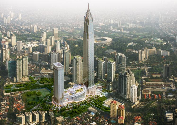Signature Tower dengan 111 lantai setinggi 638 meter karya PT Gistama Intisemesta akan rampung tahun 2021, menjadi gedung tertinggi ke-5 di dunia (Sumber: skyscrapercity.com)