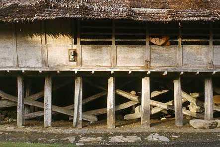 Lantai utama dibagi menjadi ruang pertemuan, Talu Salo, dan kamar tidur. Dapur dan kamar mandi berada di paviliun di bagian belakang rumah. Mereka hanya memiliki sedikit perabotan. Barang-barang mereka kebanyakan diletakkan di dalam lemari atau peti. Furnitur yang penting diletakkan di sepanjang kisi-kisi jendela yang biasanya digunakan sebagai kursi. Untuk memaksimalkan elastisitas konstruksi bangunan, pilar-pilar tidak didirikan di atas tanah, melainkan di atas pondasi batu. Hal ini merupakan teknik perlindungan untuk menghindari kontak langsung antara tanah dengan kayu agar konstruksinya dapat tahan lebih lama.