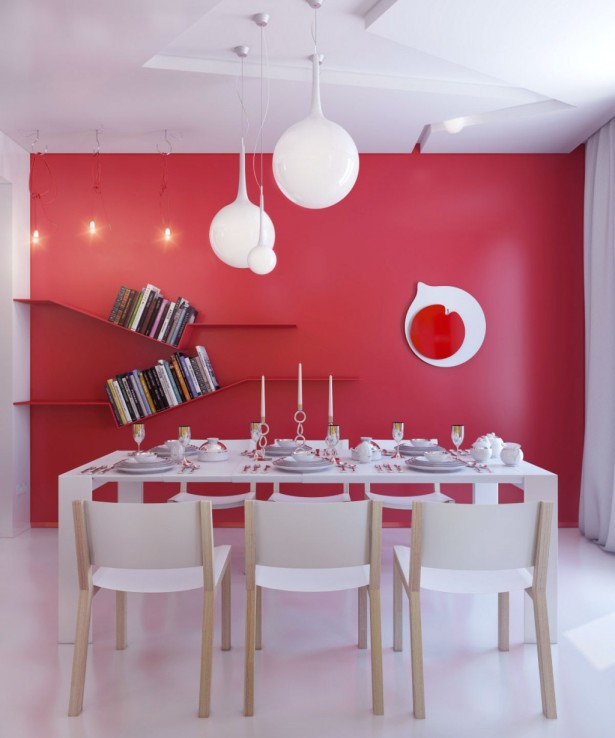 Warna merah dianggap terlalu terang untuk kamar tidur. Menambahkan warna merah untuk ruang makan dapat membuat warna cat sederhana menjadi lebih ceria. Warna merah diyakini paling cocok untuk ruangan yang dipakai berkumpul bersama karena bisa memancing percakapan.