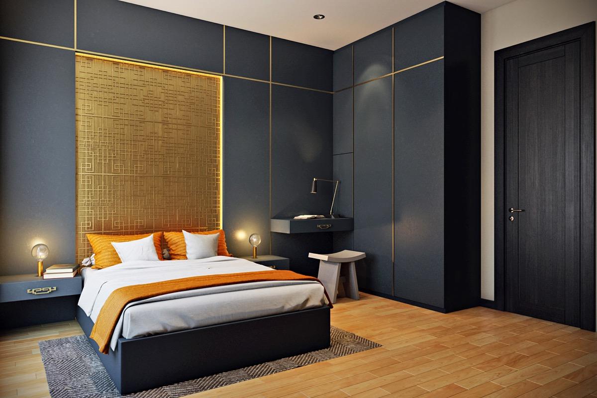 Dinding Emas dengan Perpaduan Hitam yang Elegan dan Mewah